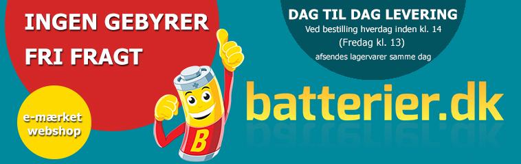 Batterier - GRATIS FRAGT og INGEN GEBYRER - batterier.dk