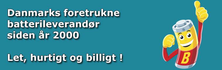 Danmarks foretrukne batterileverandør, let, hurtigt og billigt !