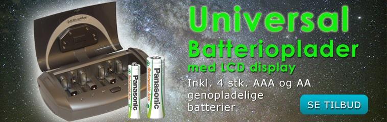Universal batterioplader inkl. batterier